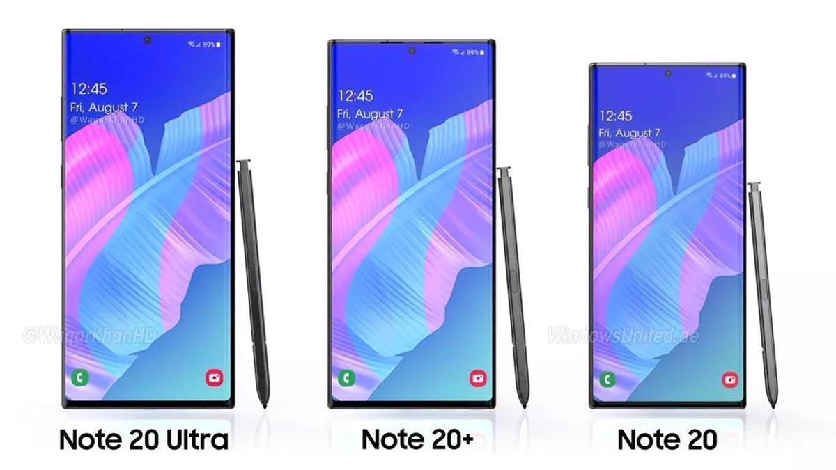 Galaxy Note 20 Ultra : l'avant des trois téléphones.