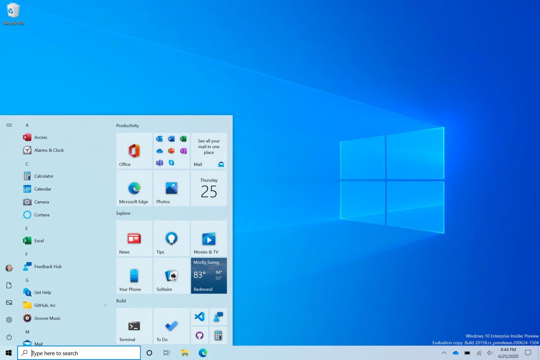 Microsoft : nouveau menu Windows 10