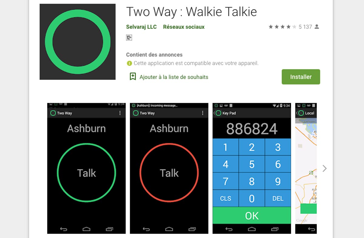 Two Way : Walkie Talkie est disponible pour iOS et Android.