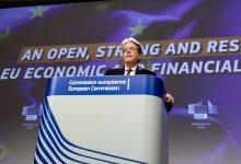 Le commissaire européen à l'économie, Paolo Gentiloni, lors d'une conférence de presse à Bruxelles en janvier.