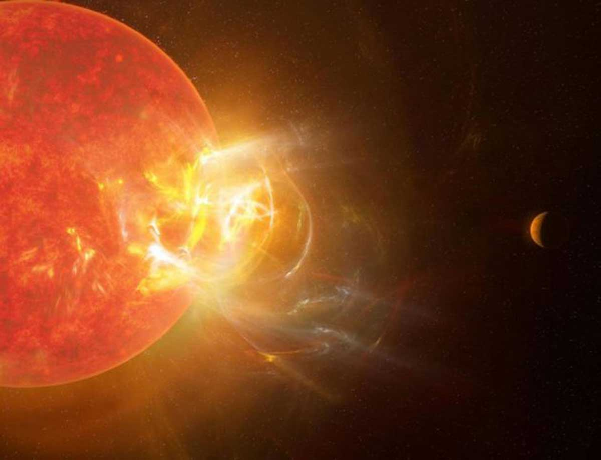 Impression d'artiste d'une explosion de radiations stellaires massives provenant de l'étoile naine rouge Proxima Centauri et visant l'une de ses planètes.