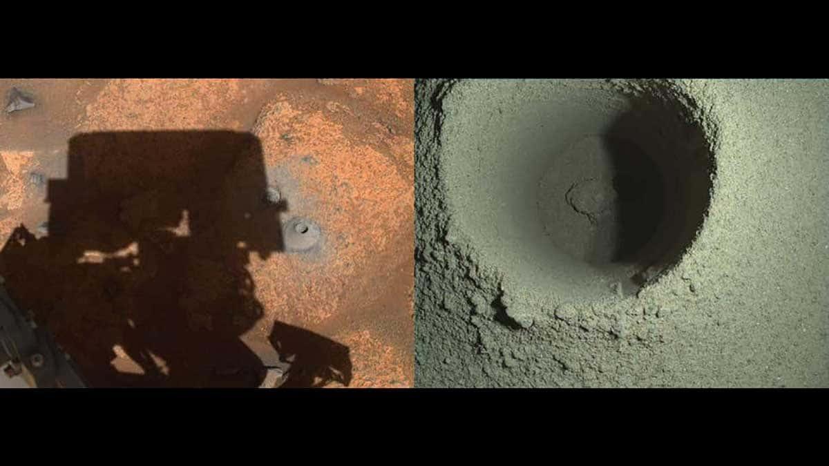 Le trou photographié par les caméras de navigation de Persévérance est à gauche. A droite, la caméra spéciale WATSON du rover.